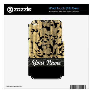 Black & gold lace damask decal for iPod touch 4G