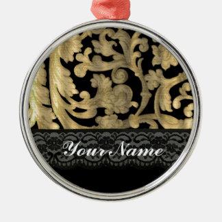 Black & gold lace damask metal ornament