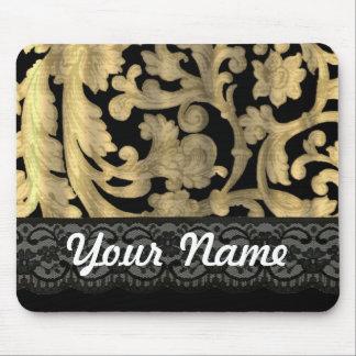 Black & gold lace damask mouse pad