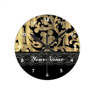Black & gold lace damask round clock