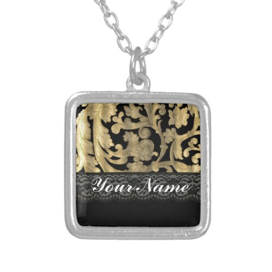 Black & gold lace damask silver plated necklace