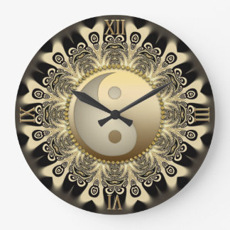 Black Gold Lace Mandala Balance YinYang Wall Clock