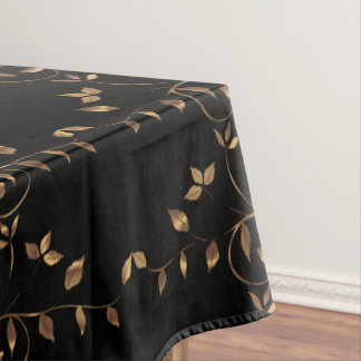 Superior Black Gold Leaf Lighthouse Route Decor Tablecloth