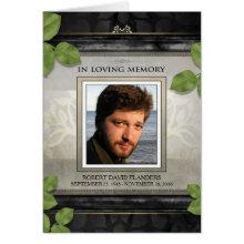Black Gold Leaf Photo Memorial Service Invitation
