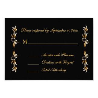 Black, Gold Leaf Scroll Response Card