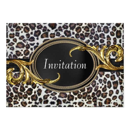 Black Gold Leopard All Occasion Party Personalized Invitation