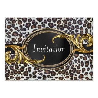 Black Gold Leopard All Occasion Party Personalized Invitation