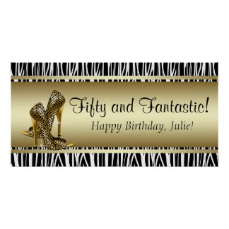 Black Gold Leopard and Zebra Birthday Party Banner Posters