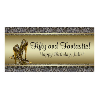 Black Gold Leopard Birthday Party Banner Poster