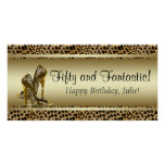 Black Gold Leopard Birthday Party Banner Posters