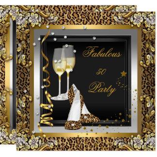 Black Gold Leopard High Heels Champagne Birthday Card