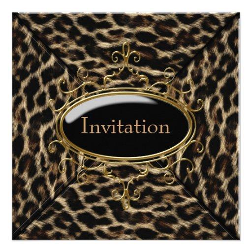 Black Gold Leopard Party Custom Invite