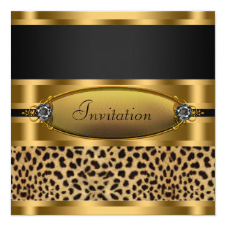 Black Gold Leopard Party Invitation