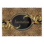 Black Gold Leopard Party Personalized Invitations