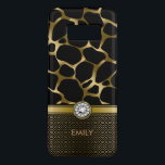 "Black &amp; Gold Leopard Print Pattern Monogram Case-Mate Samsung Galaxy S8 Case<br><div class=""desc"">Elegant gold tones leopard animal print pattern with gold stripe black and gold geometric pattern button part and white diamond print accent. Custom monogram.</div>"