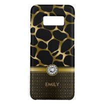 Black & Gold Leopard Print Pattern Monogram Case-Mate Samsung Galaxy S8 Case