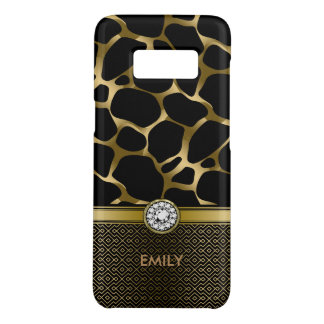 Black & Gold Leopard Print Pattern Monogram Case-Mate Samsung Galaxy S8 Case