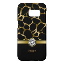 Black & Gold Leopard Print Pattern Samsung Galaxy S7 Case