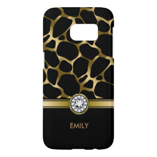 Black & Gold Leopard Print Pattern Samsung Galaxy S7 Case