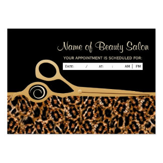 Black Gold Leopard Salon Appointment Reminder Business Cards