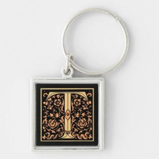 Black & Gold Letter 'T' Keychain