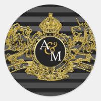 Black Gold Lion Unicorn Regal Emblem Monogram Classic Round Sticker
