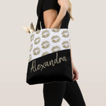 Black Gold Lips Kiss Pattern Modern Personalized Tote Bag