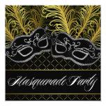 Black Gold Mask Masquerade Ball Party Invitations