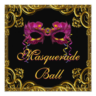 Black Gold Mask Masquerade Party Card