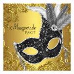 Black Gold Mask Masquerade Party Personalized Announcement