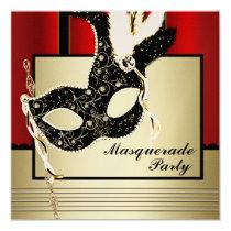 Black Gold Mask Red Black Masquerade Party 5.25x5.25 Square Paper Invitation Card