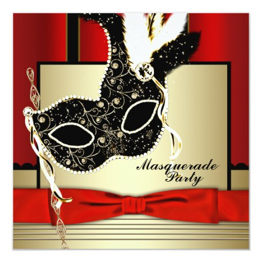 "Black Gold Mask Red Black Masquerade Party 5.25"" Square Invitation Card"
