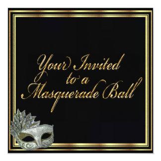 """Black Gold Masquerade Ball Invitation Collection 5.25"""" Square Invitation Card"""