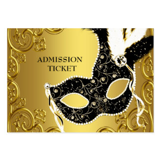 Black Gold Masquerade Party Admission Tickets Large Business Cards (Pack Of 100)