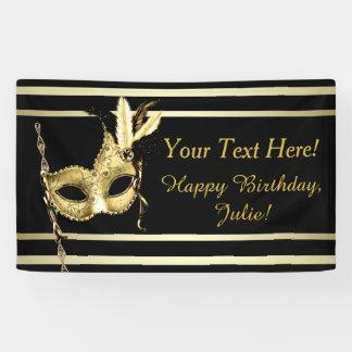 Black Gold Masquerade Party Banner