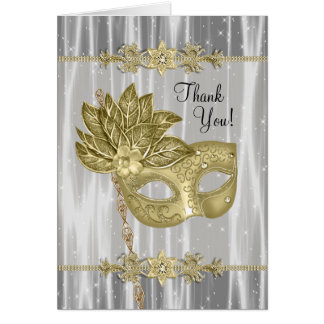 Black Gold Masquerade Party Thank You Cards