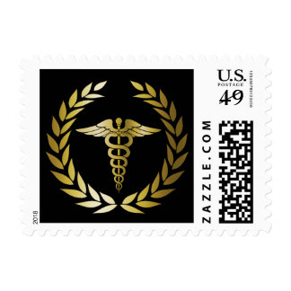 Black & Gold Medical & Nursing Graduation Postage Stamp