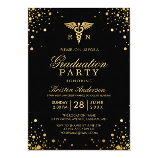 Black Gold Medical Nursing School Graduation Party Card at Zazzle