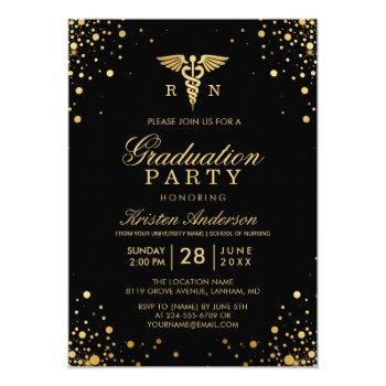 Black Gold Medical Nursing School Graduation Party Card by CardHunter at Zazzle