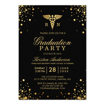 Beach Themed Black Gold Medical Nursing School Graduation Party Card