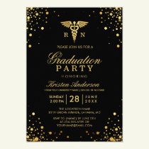 Black Gold Medical Nursing School Graduation Party Invitation