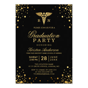 Medical school graduation invitations announcements zazzle black gold medical nursing school graduation party invitation filmwisefo