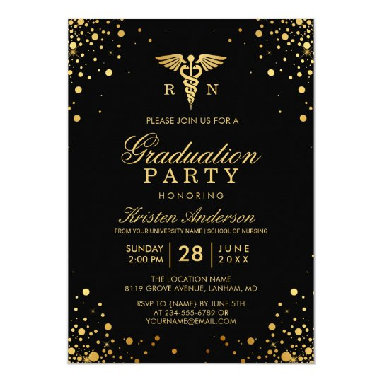 Black gold medical nursing school graduation party invitation black gold medical nursing school graduation party invitation filmwisefo