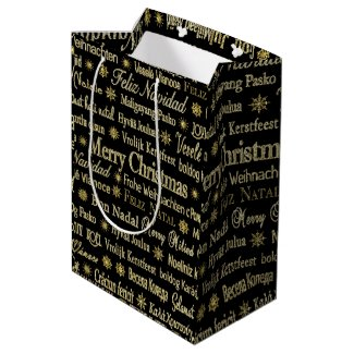 Black & Gold Merry Christmas In Different Language Medium Gift Bag