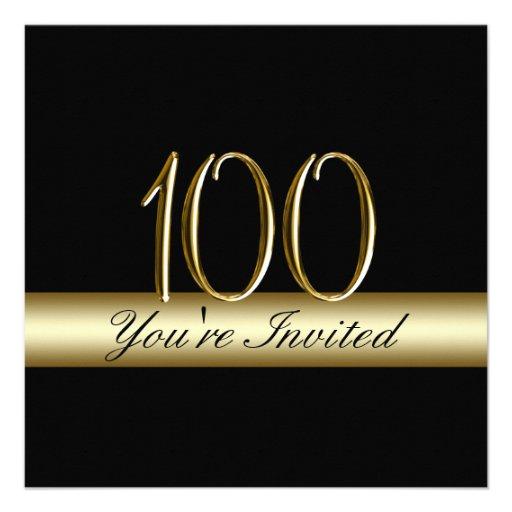 Black Gold Metal Printed 100th Birthday Invitation