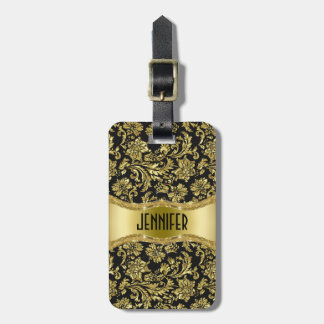 Black & Gold Metallic Floral Damasks-Customized Bag Tag