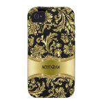 Black & Gold Metallic Floral Damasks-Customized Case-Mate iPhone 4 Covers