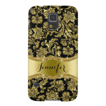 Black & Gold Metallic Floral Damasks-Customized Galaxy S5 Covers