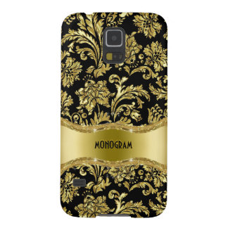 Black & Gold Metallic Floral Damasks-Customized Galaxy S5 Cover