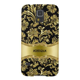Black & Gold Metallic Floral Damasks-Customized Galaxy S5 Case